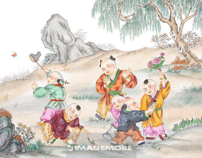 国画,儿童,游戏,春节,