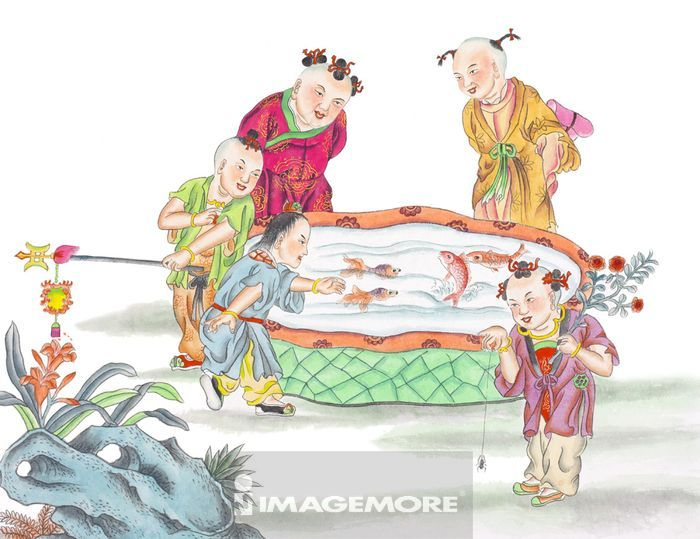 中华传统艺术,艺术画,画画,绘画,人物画像,工笔画,水墨画,儿童,玩