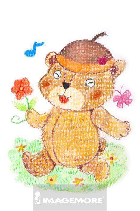 快乐,活力,愉快,可爱,幸福时光,得意,天真的,色铅笔,卡通,绘画,熊