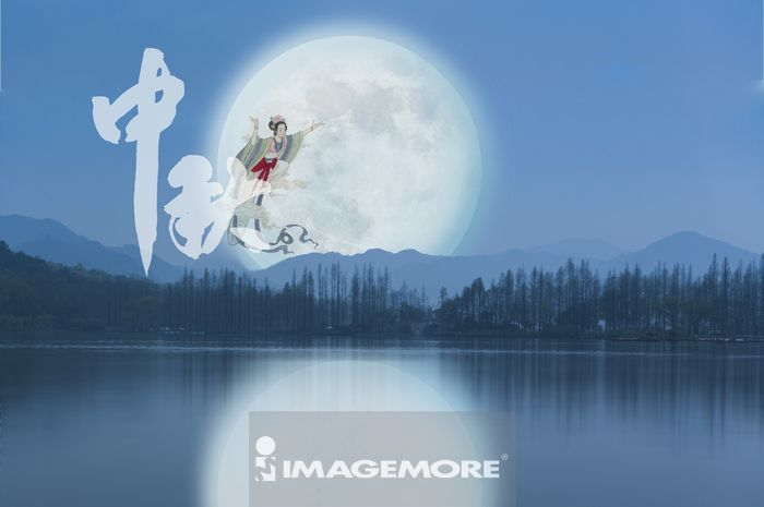 ,中国,杭州,西湖,亚洲,月亮,嫦娥,