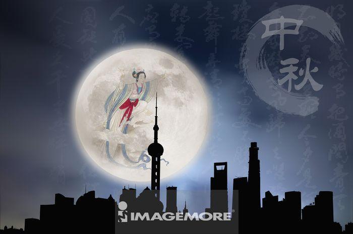 ,月亮,中国,上海,上海东方明珠塔,亚洲,嫦娥,