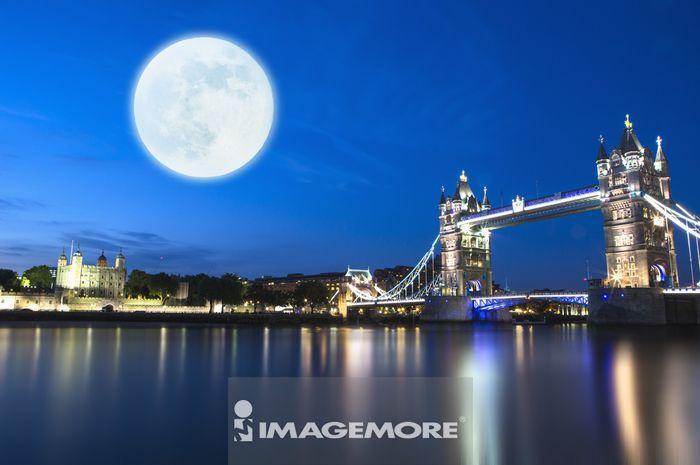 ,月亮,欧洲,英国,伦敦,伦敦塔桥,