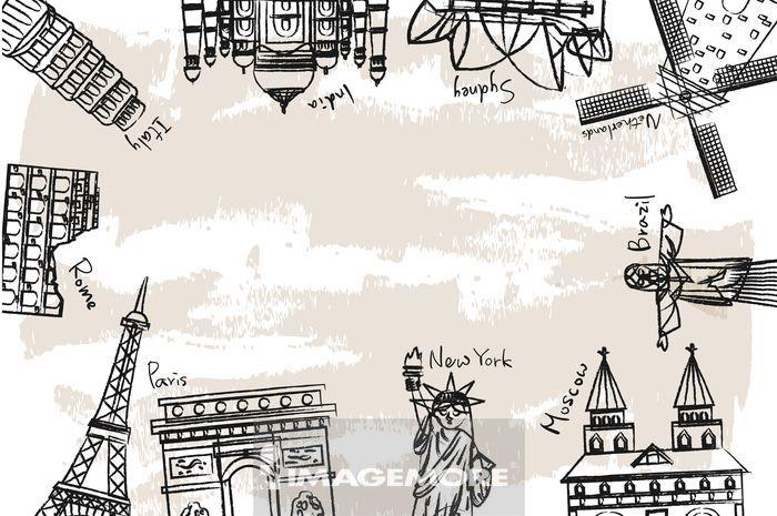 插画,旅行,环游世界,地标,