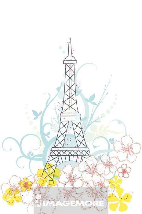 插画,旅行,爱菲尔铁塔