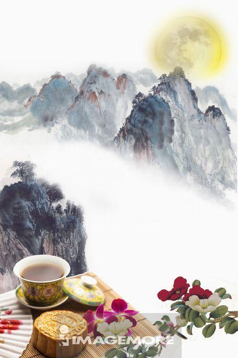 ,月亮,中秋节,国画,月饼,
