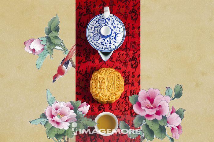 ,中秋节,国画,月饼,