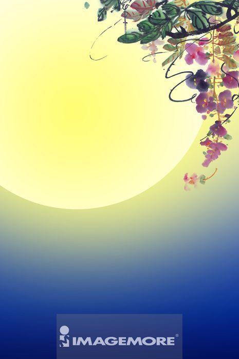 ,国画,中秋节,月亮,
