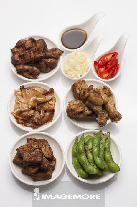 卤味,鸡胗,猪头皮,鸡腿,毛豆,豆干,
