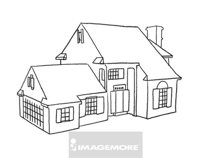 房屋建筑简笔画