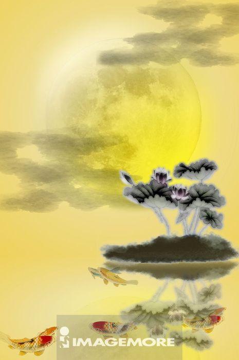 国画,中秋节,月亮,