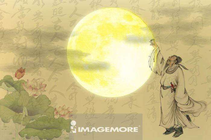 国画,中秋节,月亮,李白,