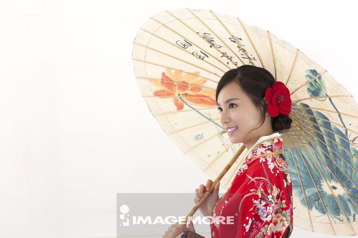 女性,和服,纸伞,