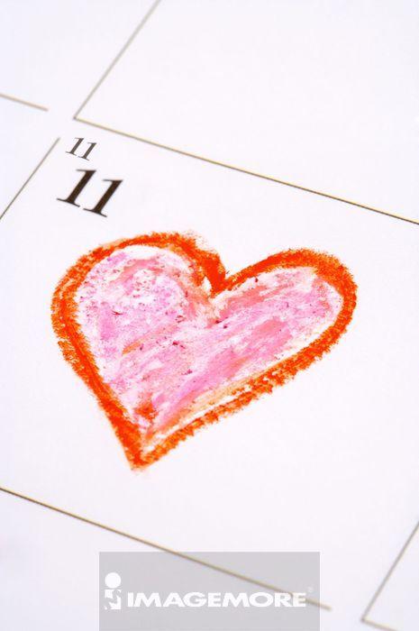 光棍节,日历,爱心,