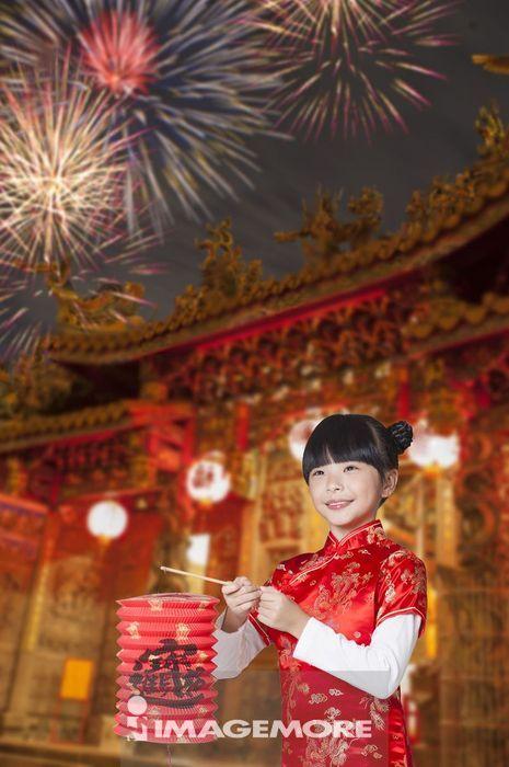 新年,春节,儿童,提灯笼,
