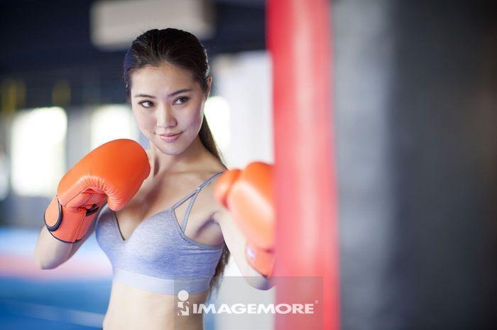 女性,运动,拳击,