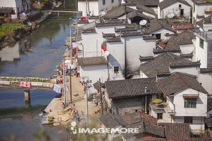 风,桥梁,交通,路灯,棉被,古典,传统,古老的,古村落,中式建筑,徽派建筑