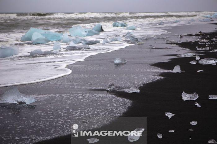 钻石沙滩,冰块,冰岛,欧洲,