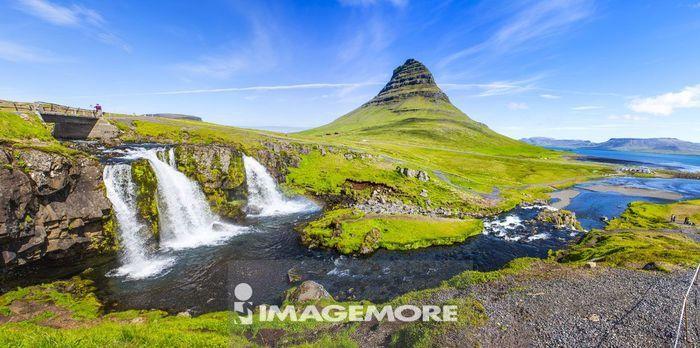 教会山瀑布,草帽山,教会山,草帽山,教会山,冰岛,欧洲,