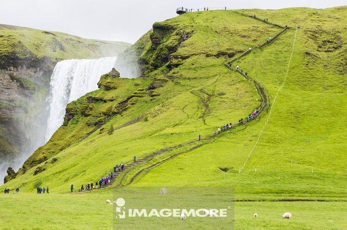 斯科加尔瀑布,彩虹瀑布,斯科加尔瀑布,彩虹瀑布,冰岛,欧洲,