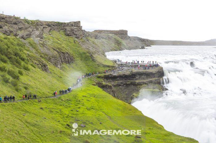 古佛斯瀑布,黄金瀑布,黄金瀑布,冰岛,欧洲,