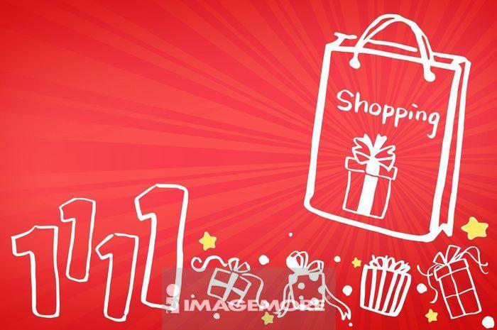 光棍节,购物,袋子,