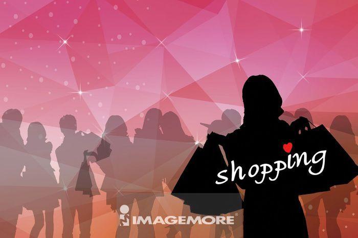 光棍节,购物,剪影,