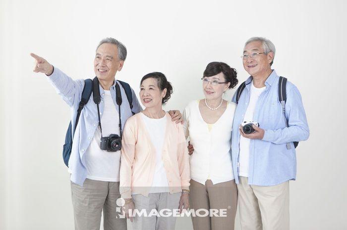 老年男人,老年女人,旅行,
