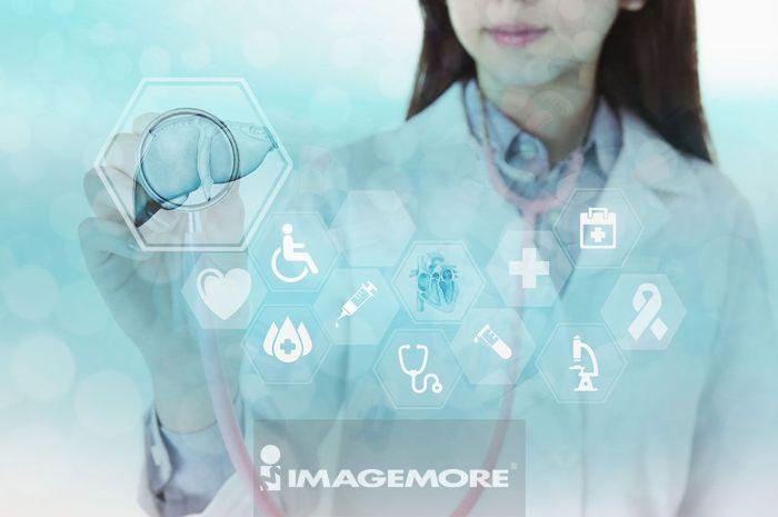 医生触控医疗用的虚拟界面按钮