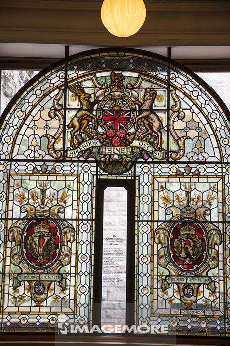 彩色玻璃,议会大厦,维多利亚岛,温哥华,加拿大,