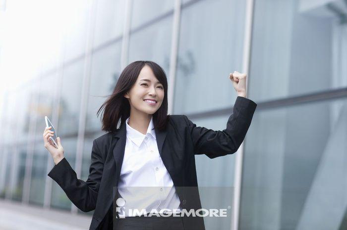 办公女性,成功,胜利,
