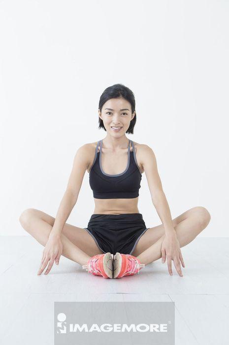 女性,运动,伸展,