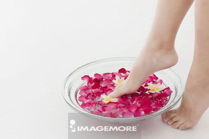 女性,玫瑰,泡脚,