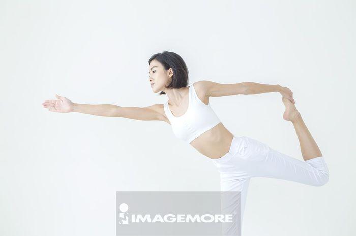 女性,瑜伽,伸展,