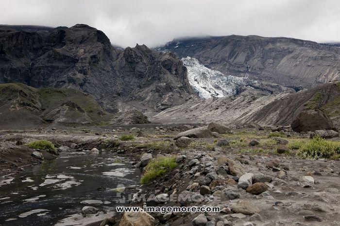 Rugged mountain glacier field