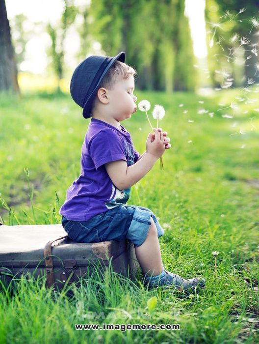 Small cute gentleman blowing the dandelions