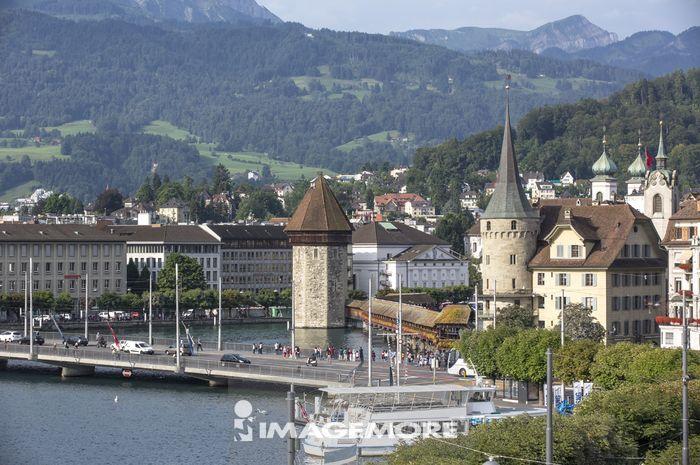 琉森,瑞士,欧洲,琉森湖,卡贝尔桥,桥梁,