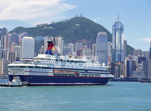 Steamship in Hong Kong Victoria Harbour
