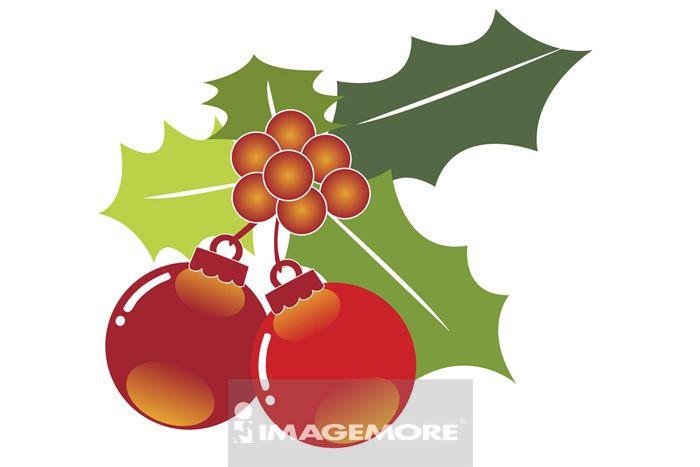 插画,圣诞球状装饰品