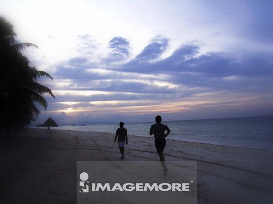 菲律宾,宿雾,海滩,日出,清晨,慢跑