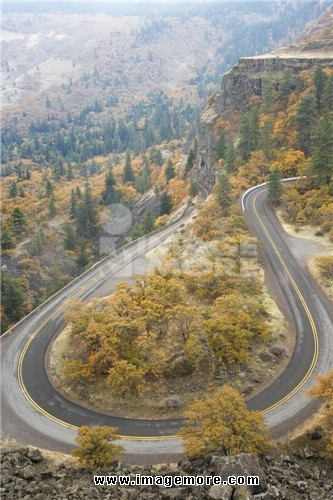 High angle view of a highway, Historic Columbia River Highway, Columbia River Gorge, Mosier, Oregon, USA