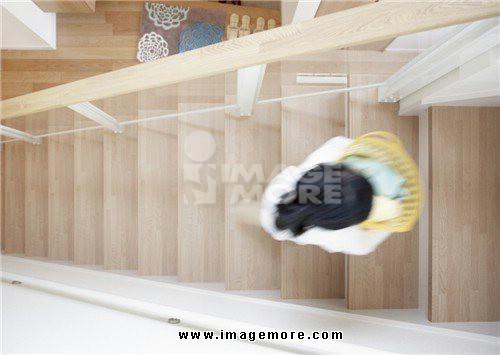 Girl climbing stairs