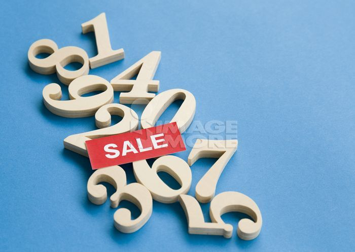 """Numbers and a word """"SALE"""""""