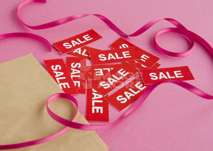 SALE tags and a ribbon