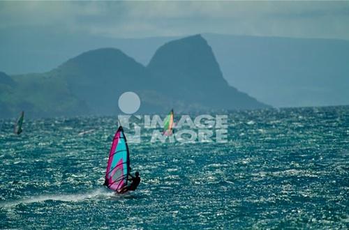 Tourists windsurfing in the sea, Maui, Hawaii, USA