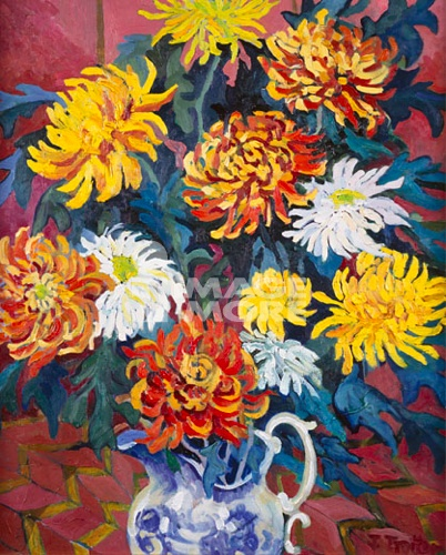 Chrysanthemums (In Blue Jug) 1996 Josephine Trotter (b.1940/British)