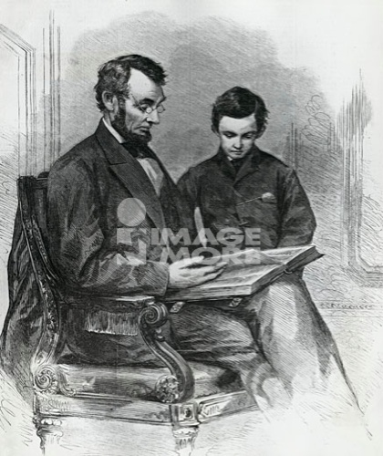 Lincoln Reading the Bible to His Son, Tad, in His Studio at the White House, after a photo by Brady taken in 1865