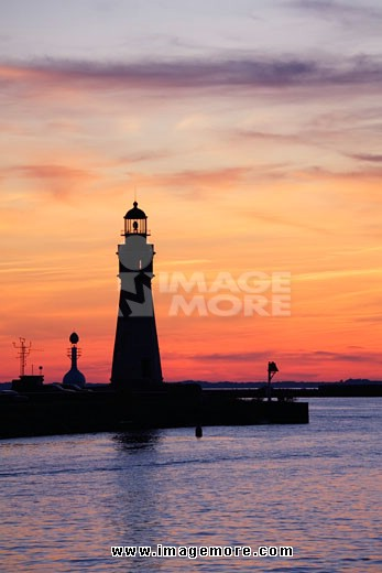 Silhouette of a lighthouse at dusk, Buffalo Lighthouse, Buffalo Port, New York State, USA