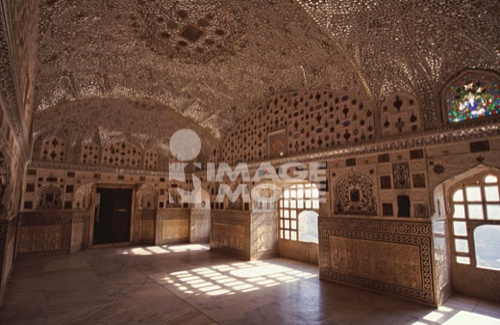 Interiors of a hall, Hall of Mirrors, Amber Fort, Amber, Jaipur, Rajasthan, India