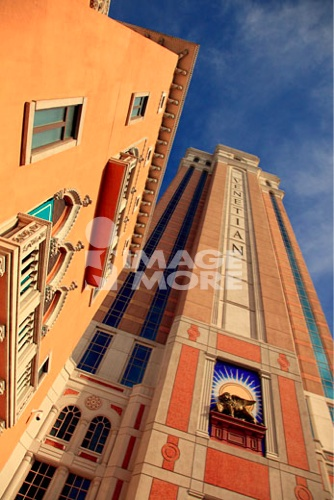 Low angle view of hotel buildings, Venetian Hotel, Las Vegas, Nevada, USA