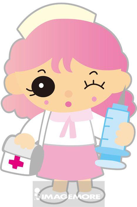 插画,女性,护士,